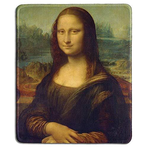 Art Mousepad - Natuurlijke Rubber muismat met beroemde Fine Art Schilderij van Mona Lisa door Da Vinci - gestikte randen - 9x7 inch
