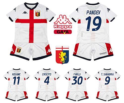 Kappa 2a Maglia Completo Bambino Genoa FC 2021/20 Originale 100% Criscito Pandev Perin (12 Anni)