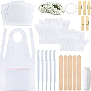 Sntieecr 158 Pieces DIY Tie Dye Kit for Kids Adult Party Group, T-Shirt Fabric Tie-Dye Kits with Two Size Plastic Gloves, Rubber Bands, Sealed Bags, Aprons, Protective Tablecloth and Tools