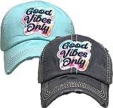 Vintage Patch Hat Bundle: Good Vibes Only - Black & Mint (2 Pack)
