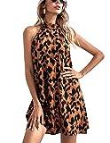 JENJON Vestido Verano Mujer de Leopardo Sin Mangas Mini Abertura Trasera Fiesta de Playa Vacaciones Marrón S