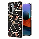 Miagon Marble Series Case for Xiaomi Redmi Note 10 PRO,Slim Bumper for Girls Thin Stylish Soft TPU Bumper Protective Phone Cover,Black Marble Flower