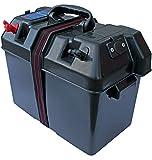 Power-Batteriekasten aus Kunststoff mit Gurtband und Batteriepolanschlüssen