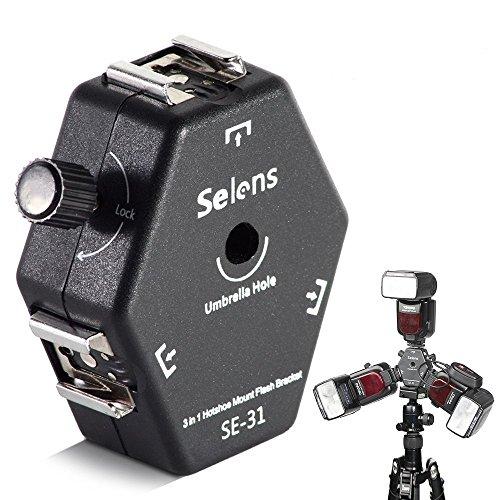 Selens 3 in 1 ストロボ用ブラケット ホットシューアダプター トリプルブラケットヘッド アンブレラホルダー 3way 撮影 フラッシュ/スタンド/三脚/アンブレラに対応 [並行輸入品]