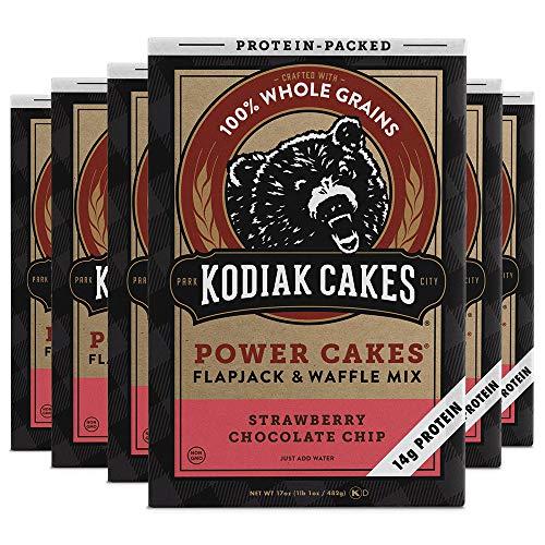 Kodiak Cakes Protein Pancake Power Cakes, Flapjack & Waffle Mix, Strawberry Chocolate Chip, 17 Oz (Pack Of 6)
