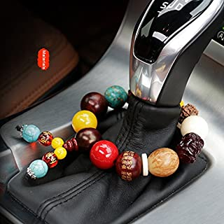 FOLCONROAD Car Hanging Decoration, Handbrake Beads Vehicle Pendant Rearview Mirror Hanging Ornament Charms Home Accessories Jade Bead Bracelet Pray for Luck Safety Blessing Christmas Gifts