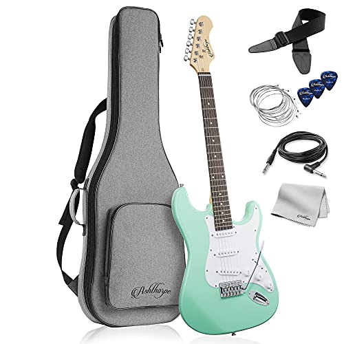 Ashthorpe 39-Inch Electric Guitar (Mint Green-White), Full-Size Guitar Kit with Padded Gig Bag, Tremolo Bar, Strap, Strings, Cable, Cloth, Picks