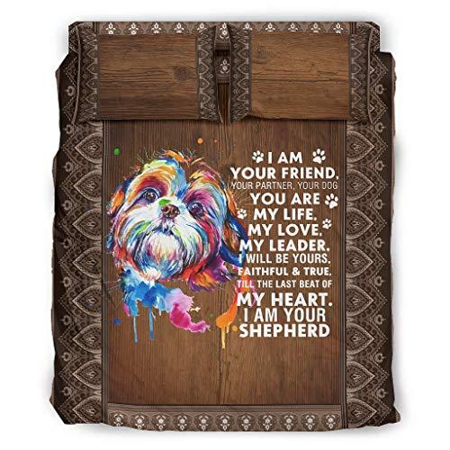 Zhouwonder I Am Your Dog Friend Life Love - Copriletto ultra morbido, facile da montare per dormitorio universitario bianco 175 x 218 cm