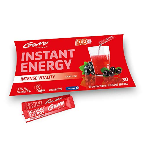 GoMo ENERGY® Energiegetränk ohne Zucker I Wachmacher mit L-Carnitin, Koffein, Vitamin-B-Komplex hochdosiert I Getränkepulver mit beerigem Holunder Geschmack I INTENSE VITALITY 30 Portionen