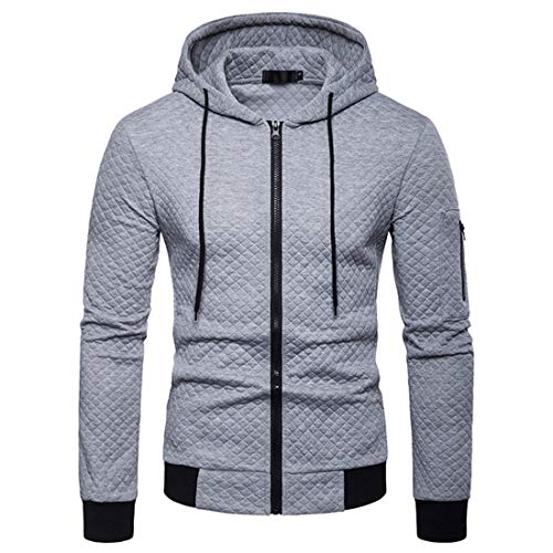 Men's Jacket Hooded Long Sleeve Mens Autumn Full Zip Solid Color V-Neck Hoodie Casual Drawstring Pullover Winter Fashion Jacket New Spring Pullover Tops XL