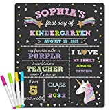 First Day of School Chalkboard - Unicorn Theme First Day of School Sign Photo Prop - 1st Day Back to School Sign - Reusable Erasable 12 x 16 inch - Use Chalk to Personalize