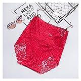 Hcxbb-1 Ropa Interior de Encaje Sexy para Mujeres Mujer de Bragas Lencería Floral Femenas Femenas Negociables Calzoncillos Permitentes Tallas Grandes Bragas (Color : Red, Size : 1pc)