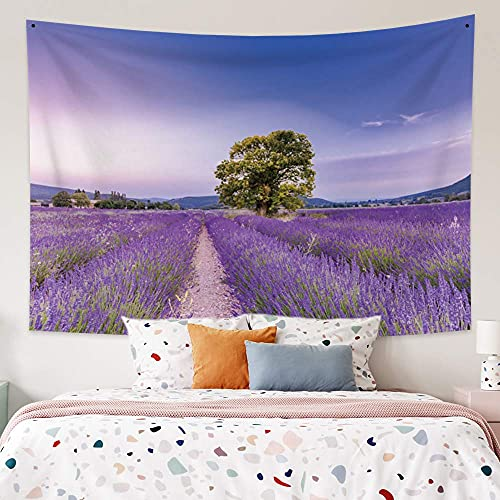 OFila Floral Tapestry for Girls Bedroom,Spring Purple Flowers Lavender Field Tapestry,Romantic French Provence Landscape Wall Hanging for Home Bedroom Living Room College Dorm Decor 33.9x27.6 Inch