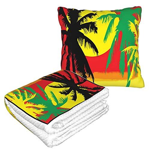 Rasta Grafik Kunst Kissen Decke Warme Flanelldecke mit Reißverschluss Premium Weich 2 in 1 Flugzeugdecke gemütlich tragbar Plüsch Überwurf Decken für Sofa Schlafzimmer Auto