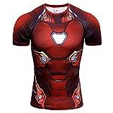 HOOLAZA Avengers Super Heroes Hombre Camiseta de compresión Iron Man Tops Fitness