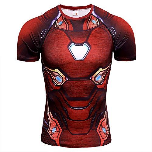 COJETER Rosso Scuro Iron Man Manica Corta Supereroi Compressione Palestra Uomini Allenarsi Fitness Sport Camicia