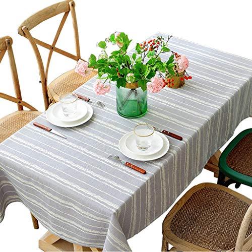 Nappe Grise - Table À Manger Coton Style Simple Table De Salon Rectangulaire Rayée Table Basse Nappe Poussière Table Tapis Pique-Nique (taille : 130cm*200cm)