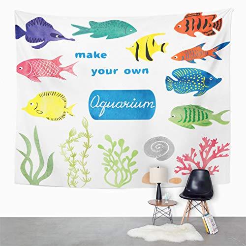 Y·JIANG - Tapiz de peces tropicales para acuario, diseño de peces tropicales, decoración para el hogar, dormitorio grande, manta para colgar en la pared para sala de estar, dormitorio, 203 x 152 cm