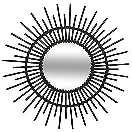 Atmosphera – Miroir en rotin Soleil D 76 cm Coloris Noir