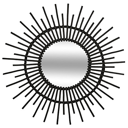 Atmosphera - Miroir en rotin Soleil D 76 cm Coloris Noir