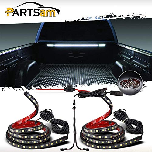 """Partsam Truck Bed Light White LED Strip Tailgate Light Bar 2pcs 60"""" 90LED Waterproof Brake Reverse Running Light with Switch Fuse Splitter Cable Replacement for Ford/Jeep/Dodge Ram RV Pickup"""