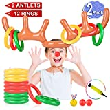 2 Set Inflatable Reindeer Antler Game (2 Reindeer Antler Hat with 12 Ring Toss, 2 Red Reindeer Nose, 1 Medal and 1 Hand-held Pump) Great Family Christmas Party Games