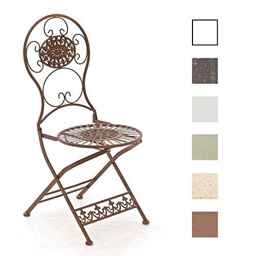 CLP Eisen-Klappstuhl MANI im Jugendstil I Antiker handgefertigter Gartenstuhl aus Eisen I erhältlich, Farbe:antik braun