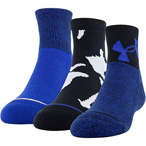 Under Armour Boy`s Phenom Quarter Socks 3 Pack (Royal Camo(U6804L3-965)/Black, Youth Medium(4Y-8Y))