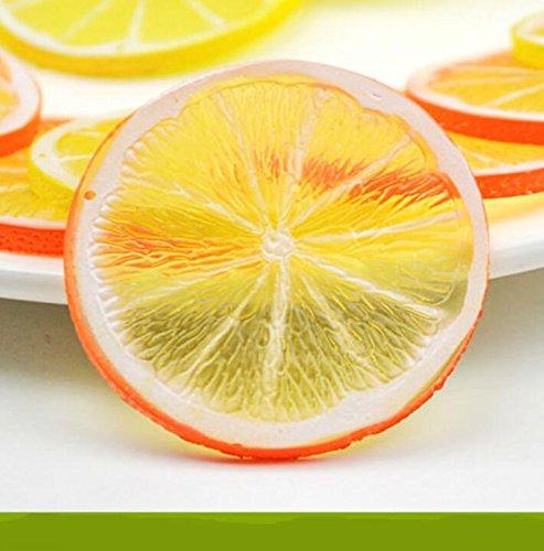 Jouets possibles Simulation Peach Lemon Kiwi Fraise Tranche Fruit Modèle Plateau Gâteau DIY Accessoires (Orange Round Lemon Slice)