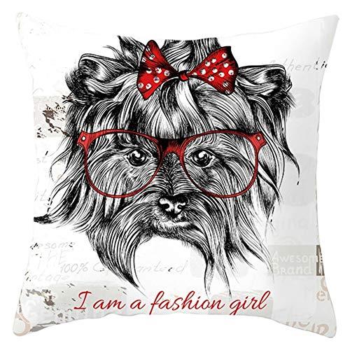 Socoz Funda dorada de poliéster para perro con las gafas I Am A Fashion Girl blanco y rojo fundas