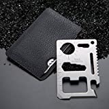 Stainless Steel Credit Card Survival 11 in 1 Multipurpose Silver Beer Bottle Opener/Portable Wallet Pocket Size/Valentines Day Gift for Men (2 pack Multitools Credit Card Survival tools)