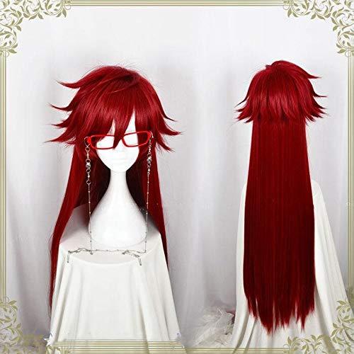 Kuroshitsuji Black Butler Grell Sutcliff Red Long Straight resistente al calor Peluca de disfraz de Cosplay sin gafas de cadena de calavera