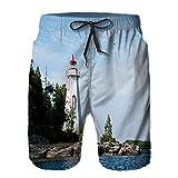 WENLISAN Bañador de Hombre,Faro del Puerto de la bañera Grande,Natación Secado Rápido Pantalones Cortos Shorts de Playa para Swim 3XL