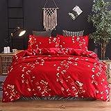 BH-JJSMGS Blumenbeet, bedruckter Bettbezug und Kissenbezug, rot 200 * 200
