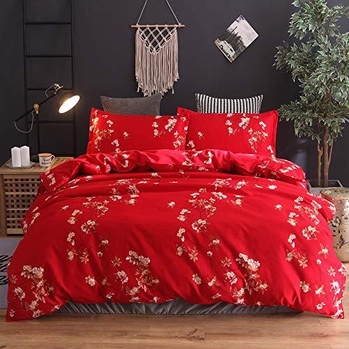 Funda de almohada estampada de flores y fundas de almohada: resistente a la decoloración y a las manchas, funda nórdica de microfibra impresa, 210 * 210 cm (juego de tres piezas) rojo grande