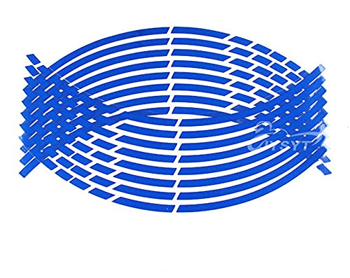 16pcs 17'18' Tiras de la Rueda Motocicleta Pegatinas de neumáticos Coche Reflectante Rim Cinta Motorbike Bicicleta Auto Calcomanías (Color : Blue)