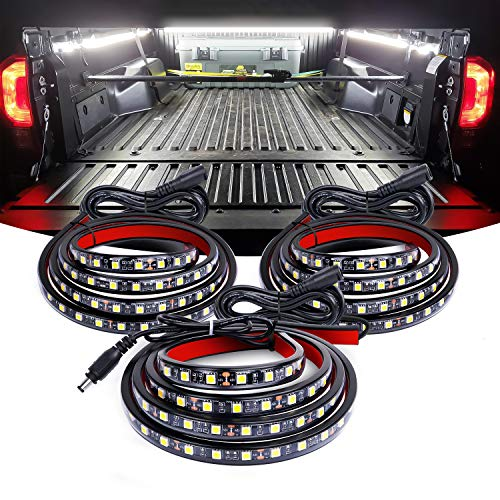 Nilight TR-09 3PCS 60 Bed Light Strip 270 LED with On/Off Switch Blade Fuse Splitter Extension Cable for Cargo, Pickup Truck, SUV, RV, Boat,2 Years Warranty