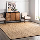 nuLOOM Rigo Hand Woven Jute Area Rug, 4' x 6' Oval, Natural