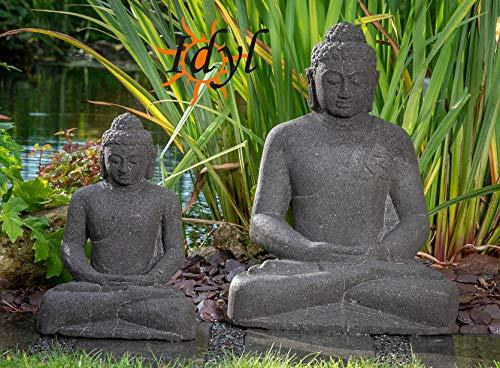 IDYL Lavastein Stein Figur Indischer Buddha   Höhe 60 cm   frostfest   Asiatische Dekoration   massives Naturprodukt   Garten - Wintergarten - Wohnbereich - Terrasse - Balkon