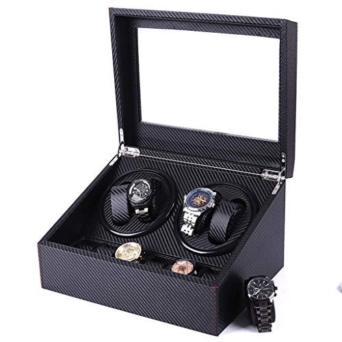 qazxsw Cajas de bobinadora de Relojes Fibra de Carbono 4 + 6 Caja de Motor de bobinado automático Botón de Interruptor de alimentación Caja de Reloj con agitador