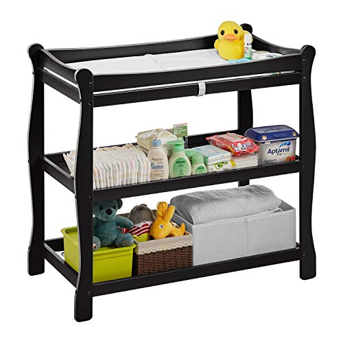 """Kealive Baby Changing Table, Infant Diaper Changing Table Wood 2 Fixed Shelves Storage, Newborn Nursery Station with Pad and Safety Belt for Baby, BPA Free, 37.4""""L x 18.9""""W x 35.8"""" H, Gray"""