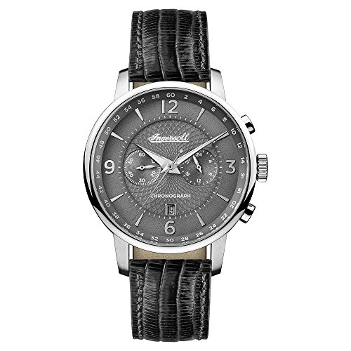 Ingersoll Men's The Grafton Quartz Watch with Grey Dial and Black Leather Strap I00601