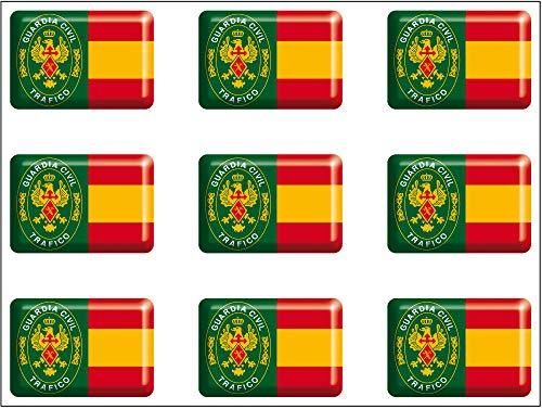 Artimagen Aufkleber rechteckig Flagge mit Logo Guardia Civil Grafik 9 Stück Harz 16 x 11 mm