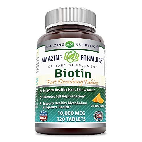 Amazing Formulas Biotin Fast Dissolving 10000 Mcg Tablets, Citrus...