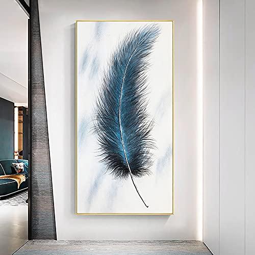 Moderno abstracto hermoso ensueño azul plumas lienzo pintura nórdica pared arte cartel HD impresiones dormitorio sala de estar porche Oficina decoración del hogar Mural
