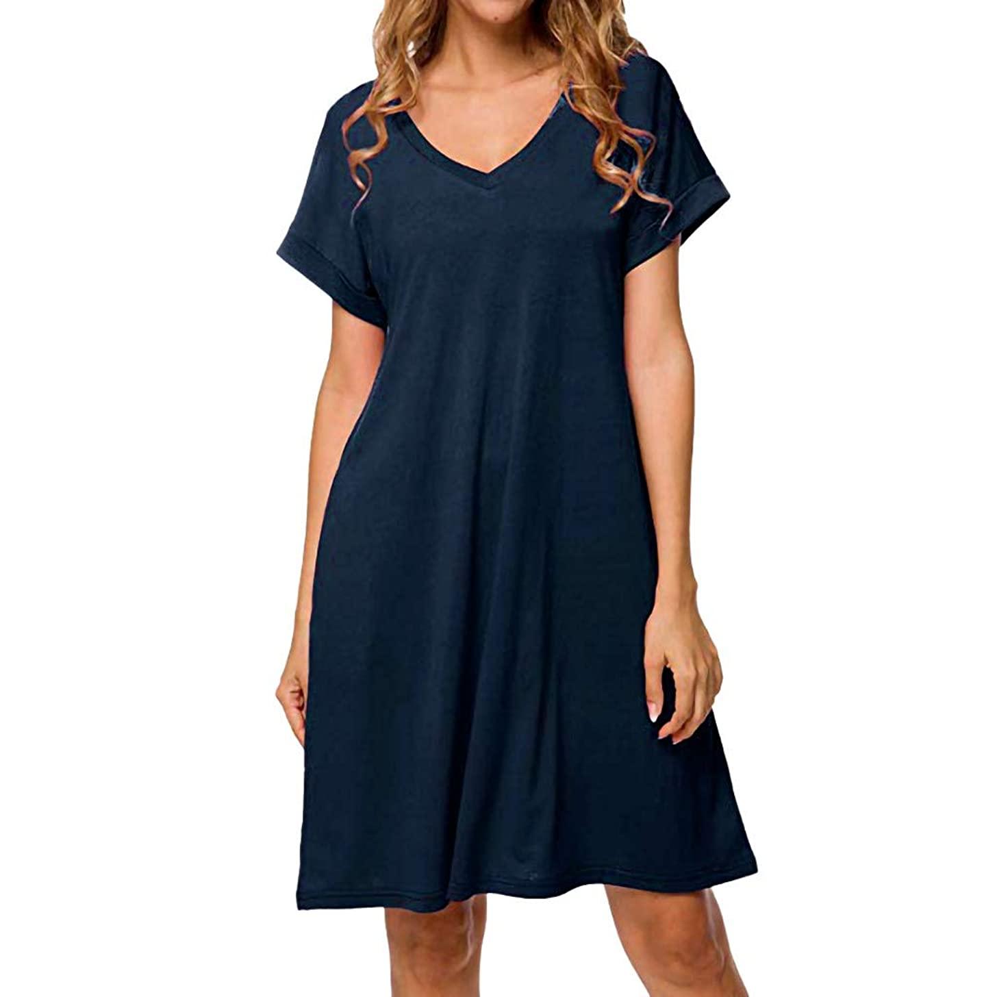Women's Summer Casual T Shirt Dresses Short Sleeve Swing Dress with Pockets V Neck Solid Loose Dress CapsA