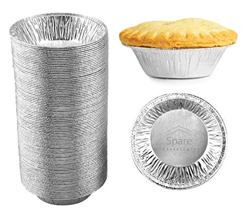 60 Pack - Pie Pans 5 Inch, Disposable Pie Tins, Aluminum Pie Pans, Foil Tart Pans used for Baking, Cooking, Storage and Reheating / Pies, Tart and Quiche by Spare Essentials