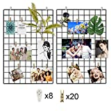 CODIRATO 2PCS Rejilla Foto Pared Multifunción Metal Mesh Pared Rejilla Creativa con 8 Ganchos y 20 Clips de Madera Grid Panel para Decoración de la Pared (Negro)