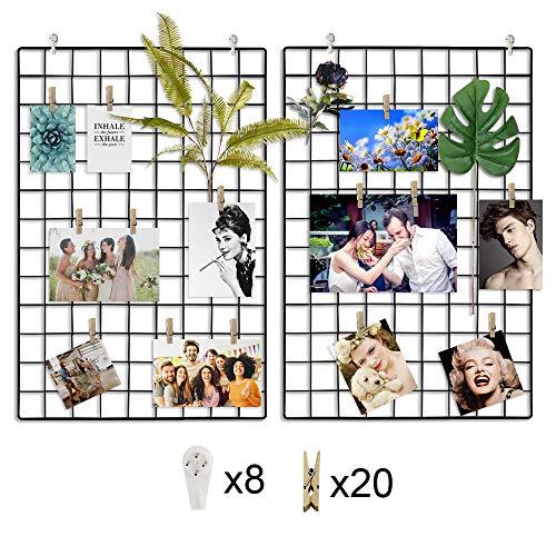 CODRATIO 2 Stück Eisen Gitter der Foto Wand Deko Grid Panel,Wand Gitter Schwarz mit Haken und Holzklammern für Schlafzimmer, Wohnzimmer, Büro, Küche, 64 x 45 cm