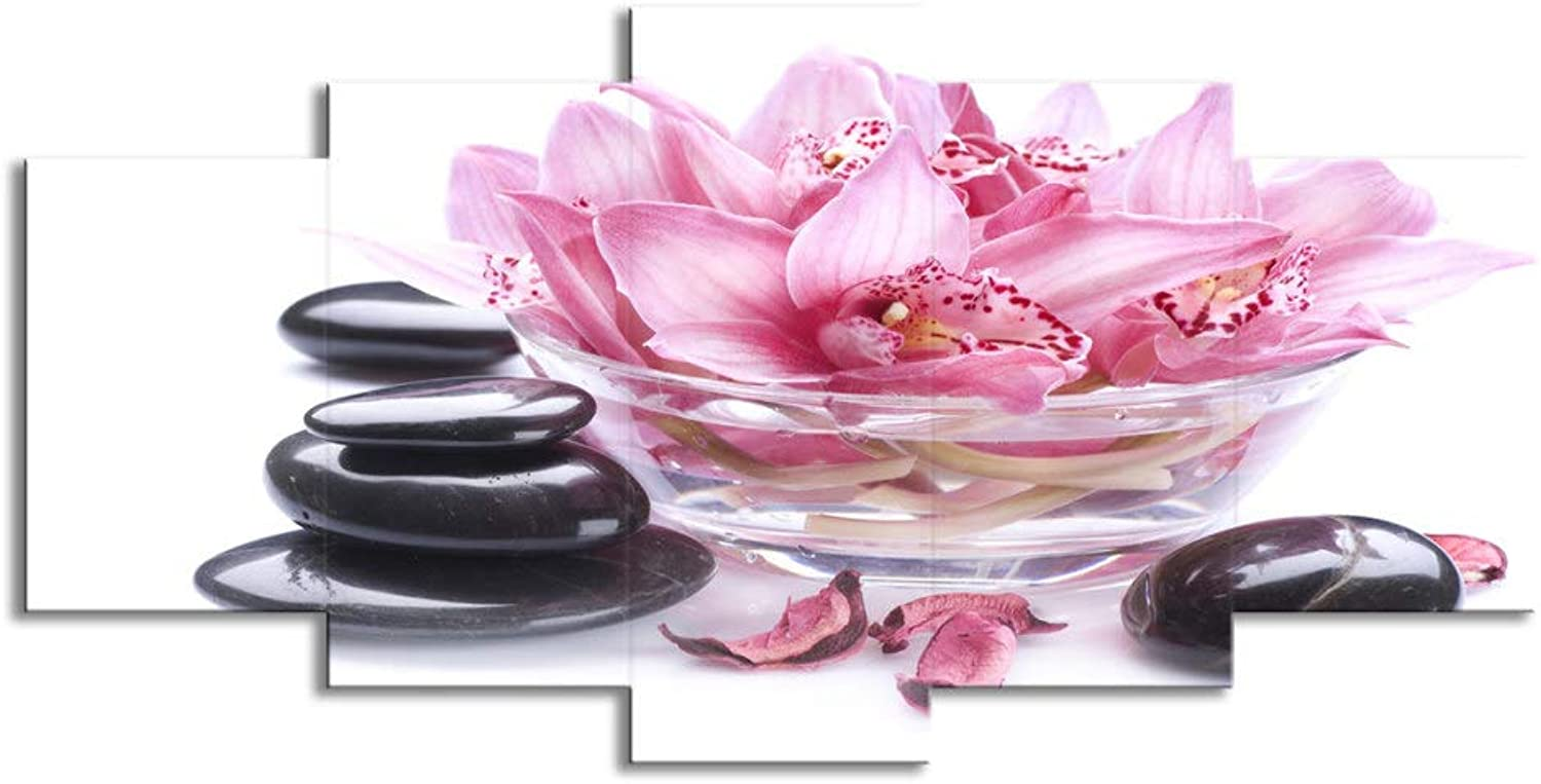 ChuangYing 5 Pieces of Pink Lily Petals Stone Painting Wall Sticker Art Flower Wall Sticker Living Room Home Decoration Wall Sticker